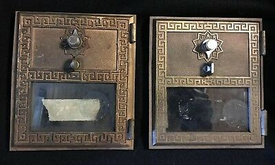 Vintage Bronze / Brass Post Office box doors with frames-Lot of 2