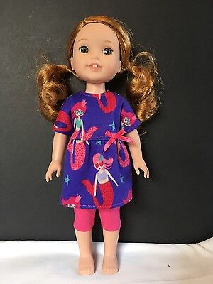 Fits American Girl Wellie Wishers Doll Clothes Outfit Top Dress Capris New