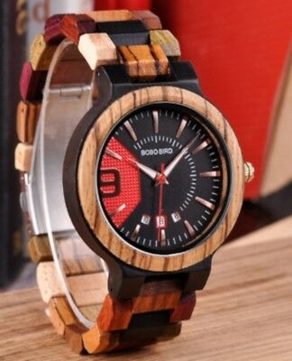 BOBO BIRD Colourful Mens Deluxe Wooden Watch With Bracelet In Wooden Gift Box