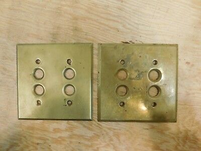 VINTAGE Antique Set of 2 Solid BRASS Light Switch PUSH BUTTON COVER PLATE