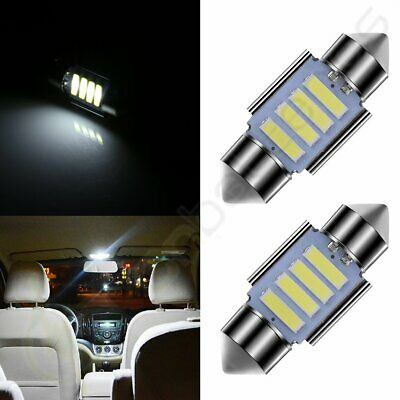 2pcs 31mm White Dome Map Trunk Bulb Lights Car LED 4-SMD Interior Festoon Lamps