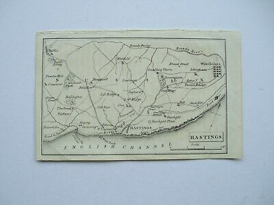 Map. Hastings incl Battle & Winchelsea. Original Copper engraving. Publ 1804.