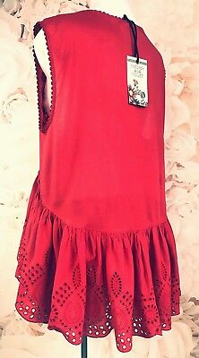 9f520b7be30a NWT Dillards Anthropologie 98$ Embroidered eyelet lace high low tunic size  med