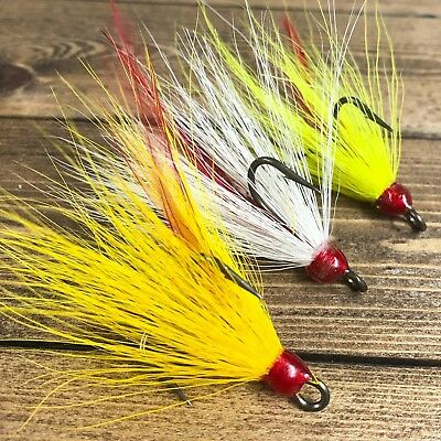 Village Tackle Squirrel Pink Feather Dressed Bronze Fishing Treble Hooks Size 1