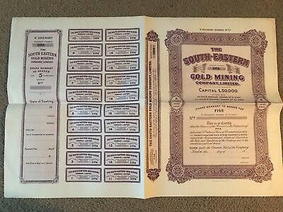 The South-Eastern Gold Mining Company Limited 5 Shares Circa 1930