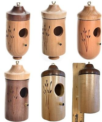 One Wooden Hummingbird Bird House Artisan Hand Crafted in America
