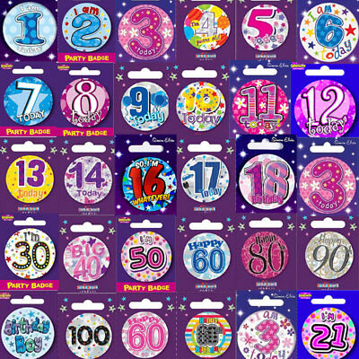 Small Birthday badge Badges All Milestone Ages Male Female Boy Girl 55mm
