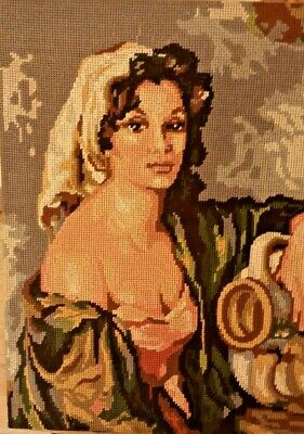 Vintage Needlepoint Completed Canvas Tapestry Women's Portrait 18.1*13.8""