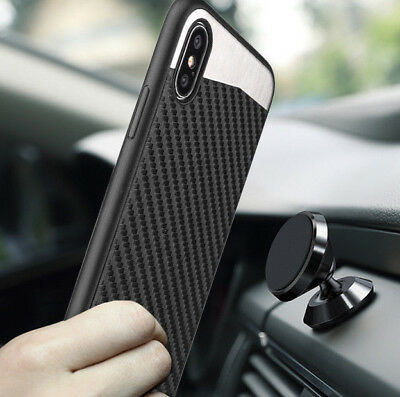 "For iPhone XS Max (6.5"") BLACK Carbon Fiber Magnetic Back Hard Rubber Case Cover"