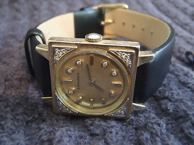 VINTAGE LONGINES TUXEDO DIAMOND CASE & DIAL 14k SOLID GOLD WATCH ~ ESTATE FIND!