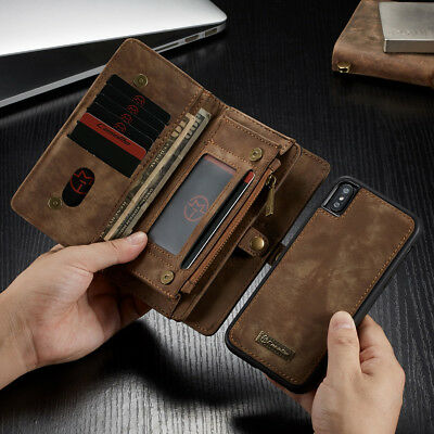 Leather Removable Wallet Magnetic Flip Card Case Cover For Apple Samsung USCC