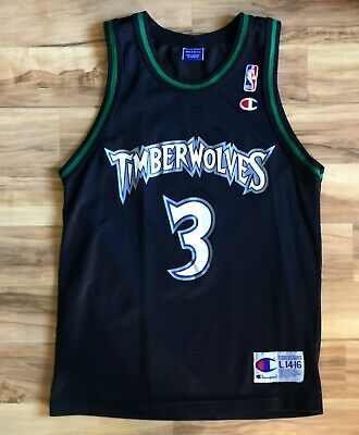 17431e04d YOUTH vtg 90s Minnesota Timberwolves Stephon Marbury Champion NBA Jersey  Large