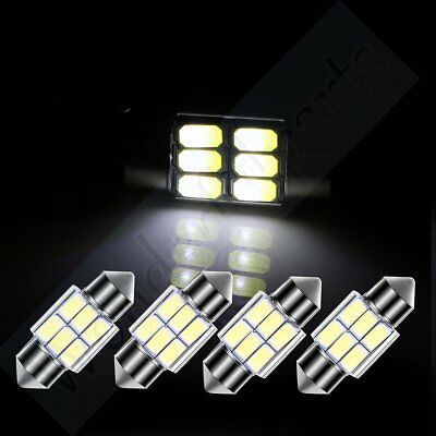 4x White 31mm Interior Festoon Car LED Bulb Lights 5630-6SMD Dome Map Trunk lamp