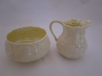 Belleek Lotus Pattern Cream and Sugar - Green Mark - Perfect Condition