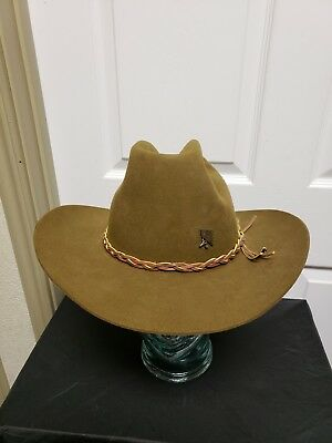 186fe813ba343 Stetson 3X Beaver Cowboy Hat 7 3 8 Green Pickers Hat Pin Leather Hat Band