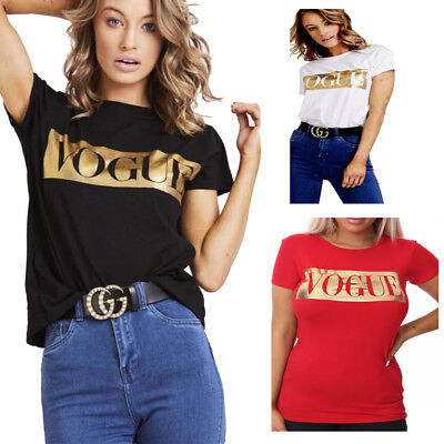 New Womens Short Sleeve Gold Foil Vouge Slogan Printed Casual T Shirt Ladies Top