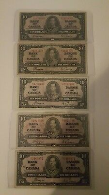 Bank Of Canada 1937- 5  - $10 Bank Notes Selling 1 Note For $17.50
