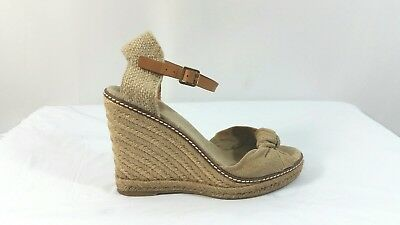 f1cea9b47132 Tory Burch Macy Tan Ankle Strap Espadrille Wedge Sandals Shoes Size 8.5