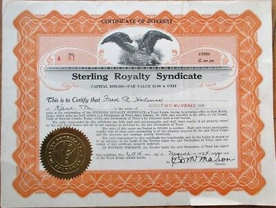 Texas Oil 1924 Stock Certificate of Interest: Sterling Royalty Syndicate - TX