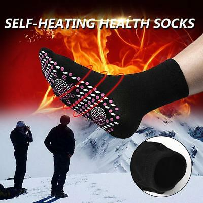 Self Heating Magnetic Tourmaline Therapy Health Socks Infrared Foot Pain BLACK