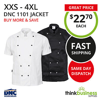 DNC Chef Jacket 1101 Traditional Short Sleeve Unisex Black or White