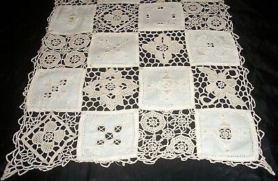 Centrepiece Runner Ecru Embroidered Linen Squares & Lace Squares