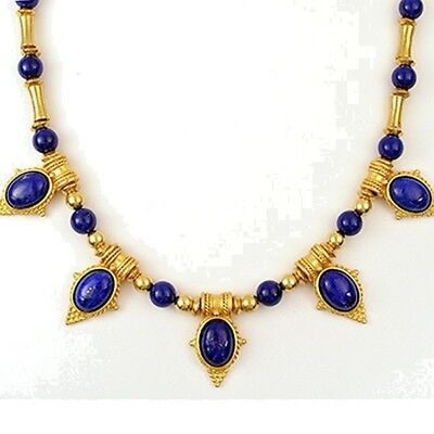 "Egyptian Revival Lapis Lazuli Statement Necklace 20""- Museum Store Collection"