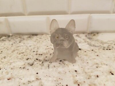 "ANTIQUE VINTAGE FROSTED GLASS FRENCH BULLDOG FIGURINE; 2.75"" tall"