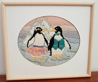 Vintage Retro Completed LONG STITCH Embroidery Boy Girl PENGUINS Framed