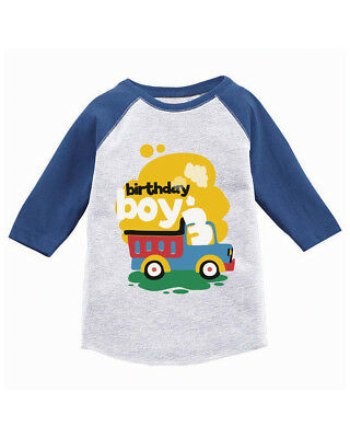 Birthday Boy Toddler Raglan Toy Truck Gifts For 3 Year Old Party