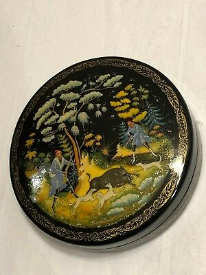 Russian Lacquer Box Hand Painted Paleh Palekh Russia or USSR