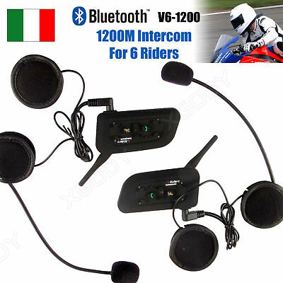 2x Moto Casco Interfono Cuffie Auricolari Bluetooth 6 Ciclista 1200M Interphone