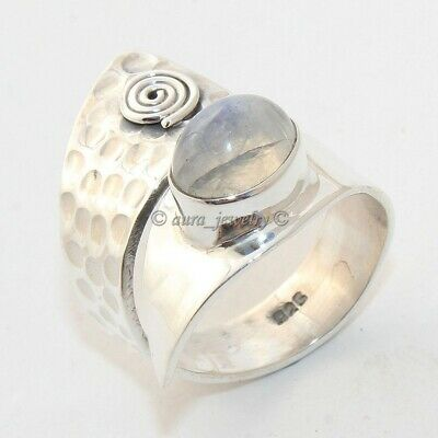 Rainbow Moonstone Textured Solid 925 Sterling Silver Ring Jewelry - All SIZES