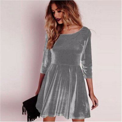Women Winter Casual Wear Long Sleeve Velvet Material Party Swing Dress LH