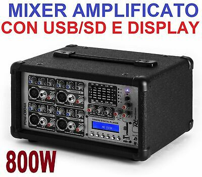 MIXER AUDIO AMPLIFICATO ATTIVO 800W PROFESSIONALE 4 CANALI USB-SD E DISPLAY live