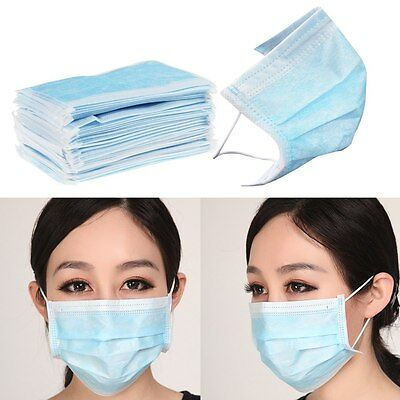 50x Disposable Surgical Medical Mouth Flu Face Mask Anti-Dust  Cover.Blue