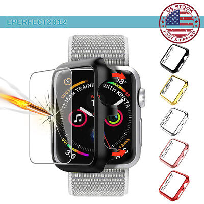 For Apple Watch Series 4 3 40 44mm 38 42 Hard PC Bumper Case & Screen Protector
