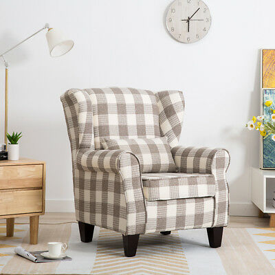ILANKA Tartan/Check Fabric Wing Back Fireside Armchair Occasional Tub Sofa Chair