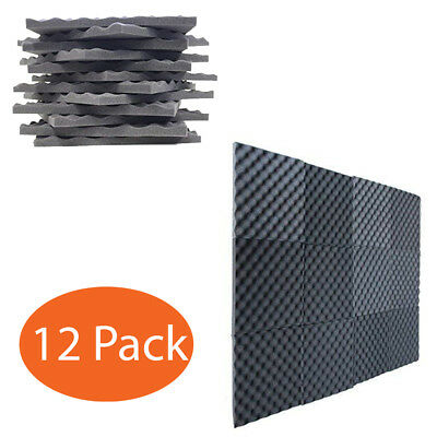 12 Pack Charcoal Acoustic Panels Soundproofing Foam Acoustic Tiles Studio