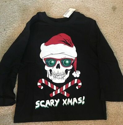 Childrens Place Boys Black Scary Xmas Long Sleeve Skull T Shirt NWT Size XS