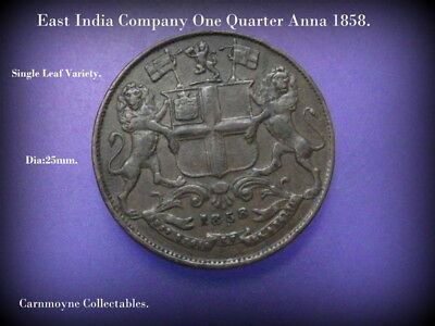 East India Company One Quarter Anna 1858.Single Leaf Variety.AH4007.