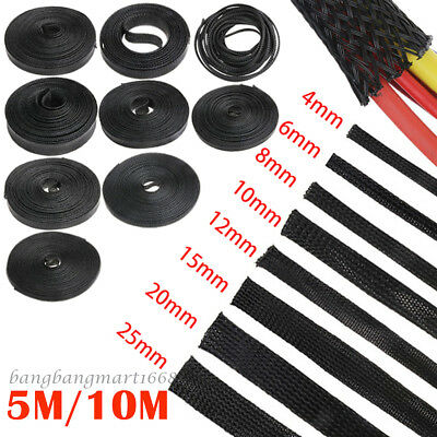 5M 10M 4-25mm Harness Nylon Expandable PET Braided Cable Wire Sleeve Sleeving