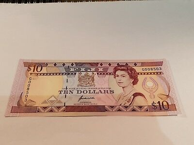 FIJI Banknote, Ten Dollar Note. 10$ Note. 1992. Unc Note. MINT Cond. P94.