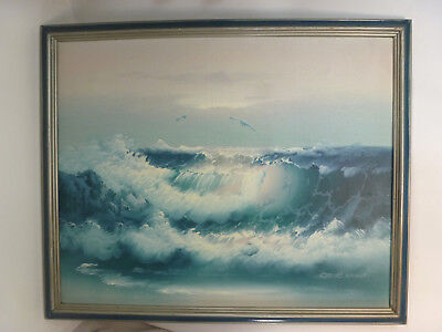 Original Oil on Canvas Seascape Coastal Waves Painting Signed Gordon