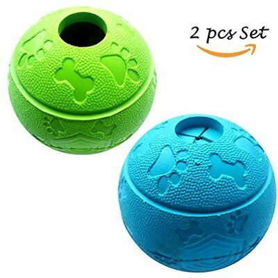 Dog Treat Toy Ball, Dog Rubber Food Ball, Interactive Dog Toy, Pack of 21Blue