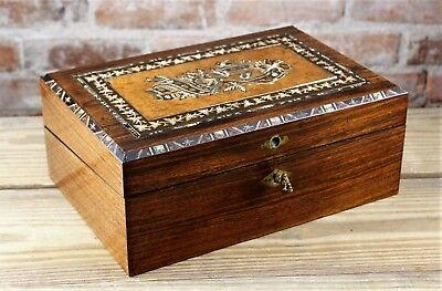 Exceptional Antique Mid 19Th C Anglo-Indian Marquetry  Mahogany Lap Desk No Resv
