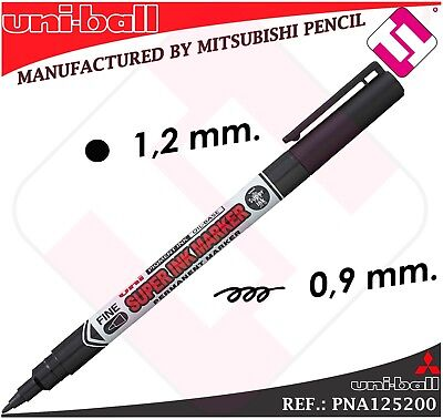 10 Marcadores Uniball Permante Negro Tinta Base Aceite 0,9Mm Superficies Todas