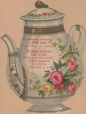 Die Cut Teapot Victorian Trade Card-Remer's Tea Store-Syracuse, NY-Roses