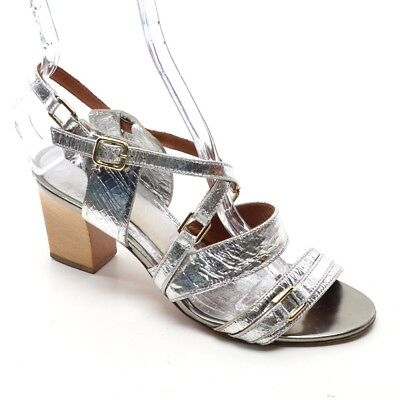 a2ed0815d3b1 LANVIN Slingback HEELS Ladies 36   6 Silver Leather Strappy SANDALS Shoes  Italy