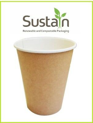 Sustain - 50 x Plain 8oz/240ml Single Wall Hot/Cold Paper Cups Bio-degradable